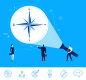 Vector business concept  illustration. Businessman points on the compass. Flat design vector concept illustration. Teamwork. Businessman points on the compass Stock Photo