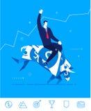 Vector business concept  illustration.  Businessman saddled bull of dollars. Flat design vector concept illustration. Businessman saddled bull of dollars. Hold Stock Photography
