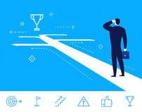 Vector business concept  illustration. businessman standing at  crossroads Royalty Free Stock Images