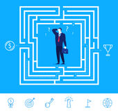 Vector business concept  illustration.  Businessman thinking how to pass the maze. Flat design vector concept illustration. Businessman thinking how to pass the Stock Images