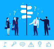 Vector business concept illustration. Businessmen and businesswomen standing at a crossroads. Flat design vector concept illustration. Businessmen and royalty free illustration