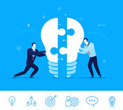 Vector business concept  illustration. Businessmen connect lamp of puzzle Royalty Free Stock Photos