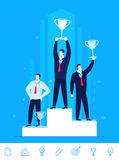 Vector business concept  illustration.  Businessmen standing with prizes for good work Royalty Free Stock Images