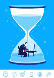 Vector business concept  illustration. deadline. Businessman sitting in the hourglass Royalty Free Stock Photo