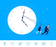 Vector business concept  illustration. Teamwork of businessmen. Flat design vector concept illustration. businessman and businesswoman trying to stop time Stock Images