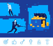Vector business concept  illustration. Two businessman digging the ground Royalty Free Stock Image