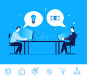Vector business concept  illustration. Two businessman discuss good deal Royalty Free Stock Photography