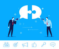 Vector business concept  illustration. Two businessman discuss good deal Royalty Free Stock Photo