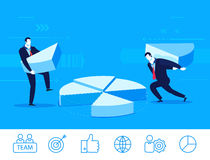 Vector business concept  illustration. two businessmen collect chart Stock Photo