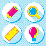 Vector business concept, infographic design elements in flat retro style,set of business icons with a pencil, magnifying glass, ru Royalty Free Stock Photos