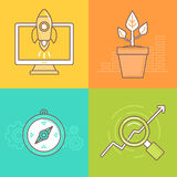 Vector business concepts in trendy linear style Royalty Free Stock Photos