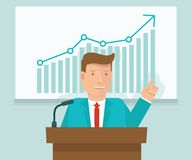 Vector business conference concept in flat style Royalty Free Stock Photos