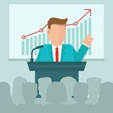 Vector business conference concept in flat style. Man speaking in front of presentation screen with graph Stock Photography