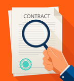 Vector business contract and magnifier. Analyzing document. Royalty Free Stock Photo
