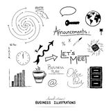 Vector of business design elements, hand drawn illustrations and typography Stock Photography