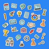 Vector business doodle icons stickers set illustration. Collection of sticker idea and money, handshake and portfolio Stock Image