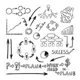 Vector Business Doodles Collection, Black Drawings Background. vector illustration