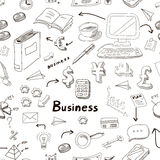 Vector business doodles seamless pattern. Background with diagrams, humans, brainstorming documents and mail icons scattered randomly on white and ideas bulbs Royalty Free Stock Photos