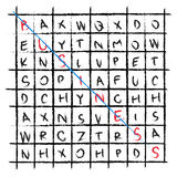 Vector business drawing word find crossword. Graphic Royalty Free Stock Photo