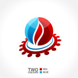Vector business emblem fire water icon round Royalty Free Stock Images