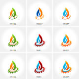 Vector business emblem fire water set icon. Drop Stock Photography