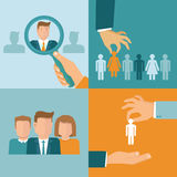 Vector business and employment concepts in flat style Royalty Free Stock Image