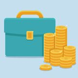 Vector business and finance concept in flat style. Coins and portfolio Royalty Free Stock Photography