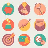 Vector business and finance icons. And sign in flat style Royalty Free Stock Photos