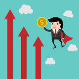Vector business finance. save money for investment concept,cartoon businessman with money in his hand to save. cartoon  illu. Business finance. save money for Stock Photography