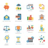 Vector business financial icons set flat style money graph currency finance investment bank exchange card symbol. Illustration. Transactions optimization cash Royalty Free Stock Images