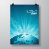Vector Business Flyer illustration with globe on blue background. Stock Image