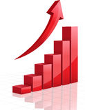 Vector business graph with arrow. Vector business graph with red arrow Royalty Free Stock Photography