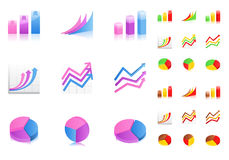 Vector business graphs icons. Set of business graphs icons on white background Stock Image