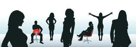 Vector business group. Of six women and one man Stock Photo