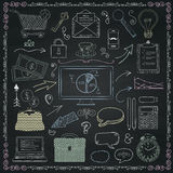 Vector Business Hand Sketched Icons on Chalkboard Texture Stock Photo
