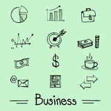 Vector : Business icon set in doodle style Stock Photos