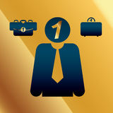 Vector Business Icon Set. On Golden Background Stock Photography