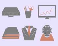 Vector Business icon set. On grey background Royalty Free Stock Images