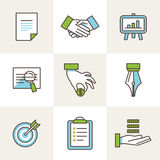 Vector business icons in outline style Stock Photos
