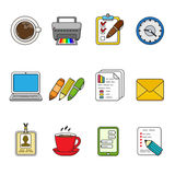 Vector business icons set. Color outlined icon collection. Laptop, printer, smartphone, badge, documents graphics and other Stock Photo