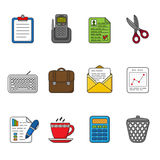 Vector business icons set. Color outlined icon collection. Royalty Free Stock Photography