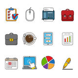 Vector business icons set. Color outlined icon collection. Royalty Free Stock Image
