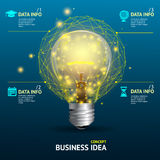 Vector business idea concept, illuminated lamp Stock Photography