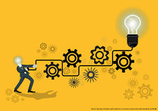 Vector business for ideas and creativity in business operations with backlash and bulb flat design. Vector business for ideas and creativity in business Royalty Free Stock Photos