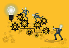 Vector business for ideas and creativity in business operations with backlash and bulb flat design. Vector business for ideas and creativity in business Stock Image