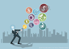 Vector Business ideas ropes pulled out a coin. Success informal trade with icons flat design Royalty Free Stock Images