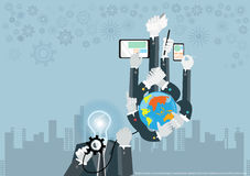 Vector business ideas using technology to communicate globally to achieve business success with various icons flat design Royalty Free Stock Photo