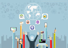 Vector business ideas using technology to communicate globally to achieve business success with various icons flat design. Vector business ideas using technology royalty free illustration