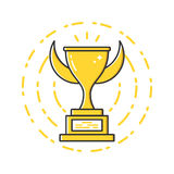 Vector business illustration of gold award cup icon in flat linear style. Stock Image