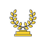 Vector business illustration of gold medal with leaves icon in flat line style. Royalty Free Stock Photography